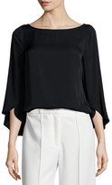 Milly Butterfly-Sleeve Silk Blouse