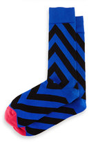 Jonathan Adler Directional-Stripe Knit Socks, Royal Blue/Black