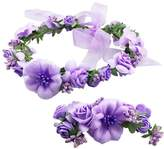 C-Pioneer 2pcs Boho Flower Headband & Wrist Corsage Set Floral Crown Beach Wedding Party Prom