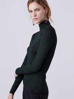 Diane von Furstenberg Tess Metallic Knit Turtleneck