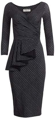 Chiara Boni Ariane Pinstriped Ruffled Sheath Dress
