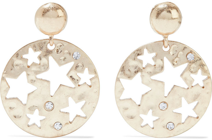 Kenneth Jay Lane Hammered 18-karat Gold-plated Crystal Earrings