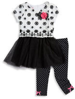 Nannette Girls 2-6x Floral Lace and Mesh Dress and Leggings Set