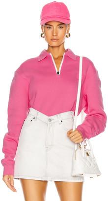 Acne Studios Ferd Face Half Zip Sweatshirt in Bubblegum Pink | FWRD