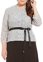 Alex Evenings Plus 3/4 Sleeve Scallop Neckline Top
