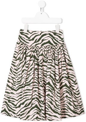Stella McCartney Zebra Print Midi Skirt