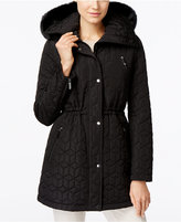 Calvin Klein Water-Resistant Faux-Fur-Trim Quilted Anorak Coat