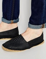Asos Espadrilles In Black With Snakeskin Effect