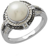Lord & Taylor Freshwater Pearl Diamond and Black Diamond Sterling Silver Ring
