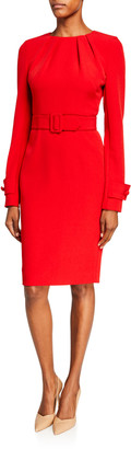 Badgley Mischka Pleated Neck Belted Stretch Crepe Dress