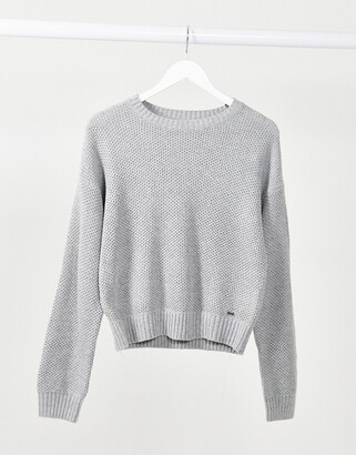 Hollister honeycomb knitted jumper in grey