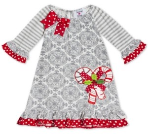 Rare Editions Baby Girls Candy Cane Printed Dress