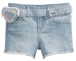 Epic Threads Little Girls Denim Shorts with Heart Belt Bag