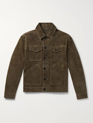 Mr P. Suede Trucker Jacket - Men - Green