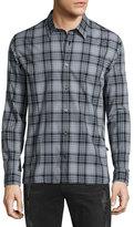 John Varvatos Classic Plaid Sport Shirt, Coal