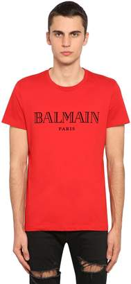 Balmain Flocked Logo Cotton Jersey T-shirt