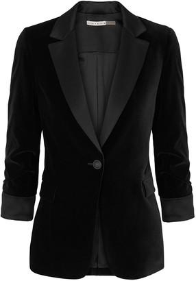 Alice + Olivia Macey black velvet blazer