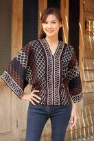 Women's Geometric Patterned Top, 'Lanna Pride'