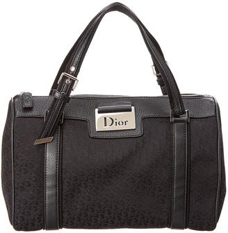Christian Dior Black Trotter Canvas Boston Bag