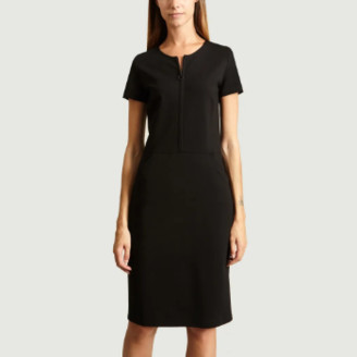 agnès b. Black Viscose Sheath Dress - 1   viscose   black - Black/Black