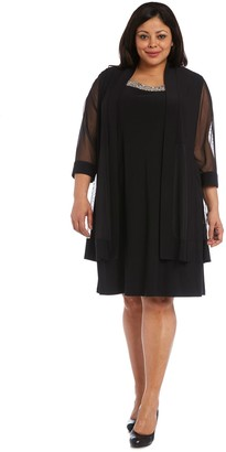 R & M Richards R&M Richards Dress with Beaded Neckline and Soft Jacket