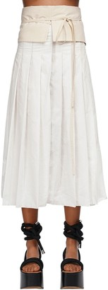MONCLER GENIUS Pleated Canvas Midi Skirt