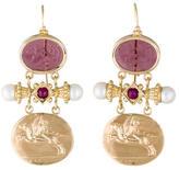 Tagliamonte 14K Venetian Cameo Ruby and Pearl Drop Earrings
