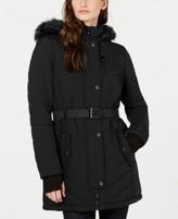 Michael Kors Michael Active Belted Hooded Faux-Fur-Trim Puffer Coat