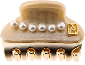 Alexandre de Paris Vendome Hair Clip Pearls Golden 3Cm