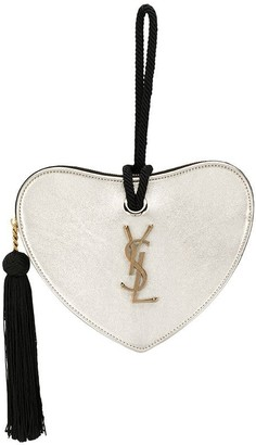 Saint Laurent Monogram heart-shaped metallic clutch