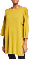 Eileen Fisher Petite 3/4-Sleeve Organic Cotton-Blend Tunic Sweater