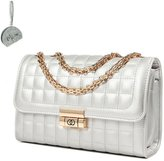 Micom Womens Mini Quilted Flap-over Tote Crossbody Purse Shoulder Handbags with Gold Chain-straps