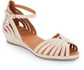 Gentle Souls Leah Leather Peep-Toe Wedge Sandals