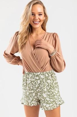 francesca's Sara Floral Shorts - Green