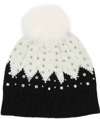 MonnaLisa Embellished Wool Blend Knit Hat