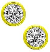 Natural Diamonds of NYC 0.86 ct Lady's Bezel Set Round Cut Diamond Stud Earrins In 14 Karat Yellow old Screw Back