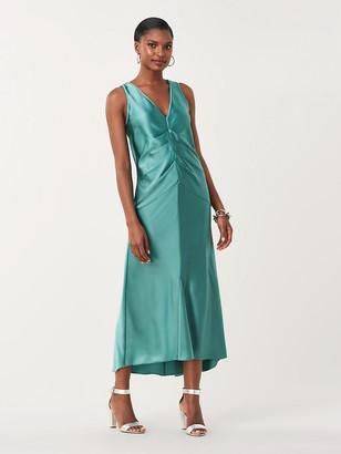 Diane von Furstenberg Seraphina Soft Satin Ruched Midi Dress