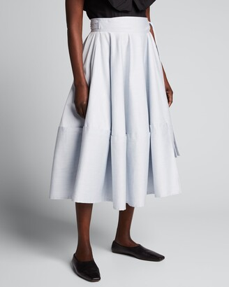 ADEAM Bellflower Self-Tie Midi Skirt