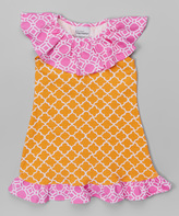 Flap Happy Vintage Trellis Ruffle Yoke Dress - Infant Toddler & Girls