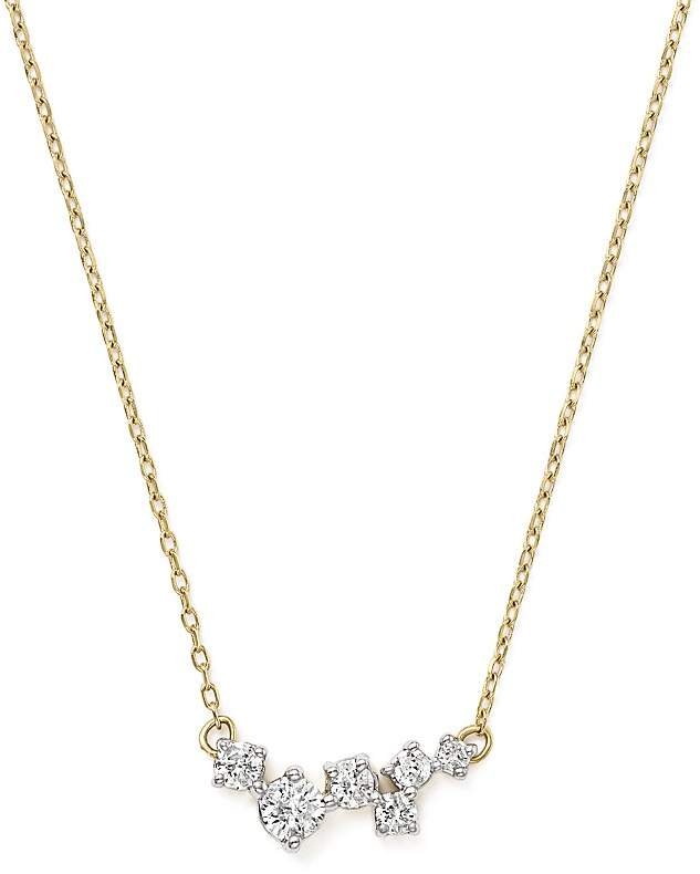 "Adina 14K Yellow Gold Scattered Diamond Necklace, 15"""
