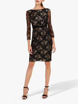 Phase Eight Jules Mesh Sleeves Dress, Black/Rose Gold