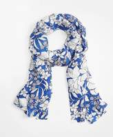 Brooks Brothers Blue Floral Silk Oblong Scarf