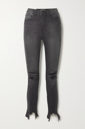 L'Agence High Line Cropped Distressed High-rise Skinny Jeans - Gray
