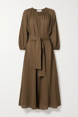 Apiece Apart Isla Cropped Belted Cotton-gauze Jumpsuit - Brown