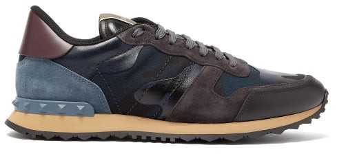 Valentino Rockrunner Suede And Leather Trainers - Mens - Navy Multi