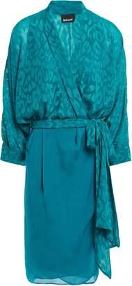 Just Cavalli Fil Coupe Crepe Wrap Dress