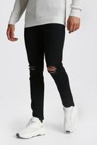 boohoo Mens Black Skinny Jeans With Rip Knees, Black