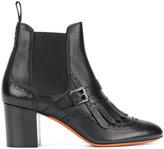 Santoni brogue detail buckled Chelsea boots - women - Leather/rubber - 37