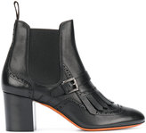 Santoni brogue detail buckled Chelsea boots