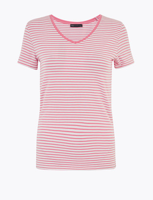 Marks and Spencer Cotton Rich Striped Fitted T-Shirt